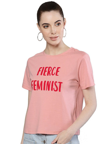 Besiva Women's Pink Half Sleeve Fierce Feminist Printed Crop T-Shirt