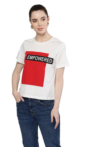 Besiva Women's White Half Sleeve Empowered Printed Crop T-Shirt
