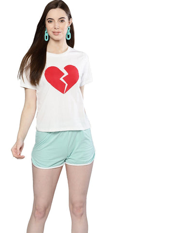 Besiva Women's White Half Sleeve Heartbreaker Printed Crop T-Shirt