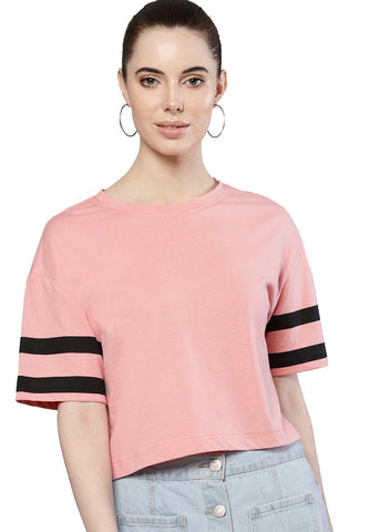 Besiva Women's Pink Half Sleeve Athleisure  Printed Crop T-Shirt