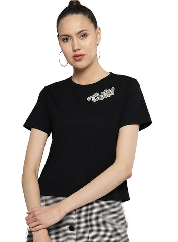Besiva Women's Black Half Sleeve Patch T-Shirt