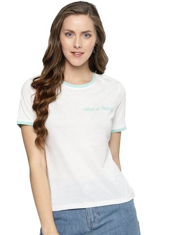 Besiva Women's White Vibing Half Sleeve T-Shirt