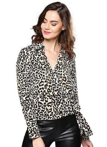 Besiva Women's Animal Print Long Sleeve Wrap Top
