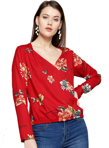 Besiva Women's Red Floral Print  Full Sleeve Wrap Top