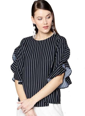 Besiva Women's Navy Stripe Three Quarter Sleeve Top