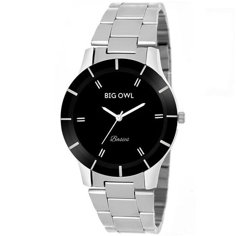 Black Dial Metallic Silver Watch