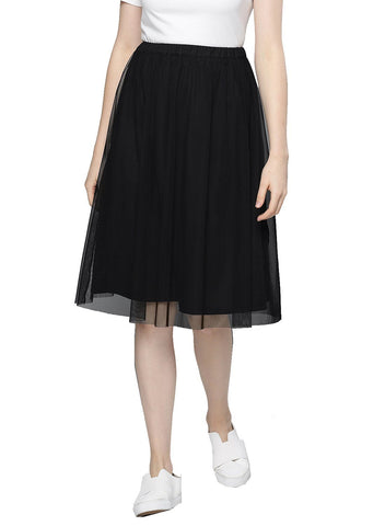 Besiva Women's Black Mesh Skirt