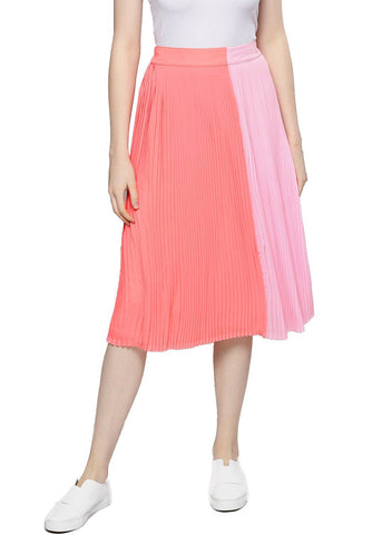 Besiva Women's Pink Pleated Skirt