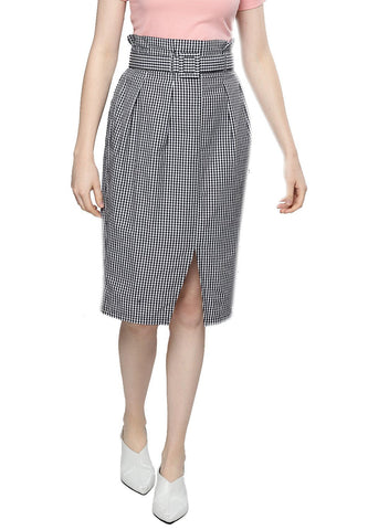 Besiva Women's Black Gingham Belted Skirt