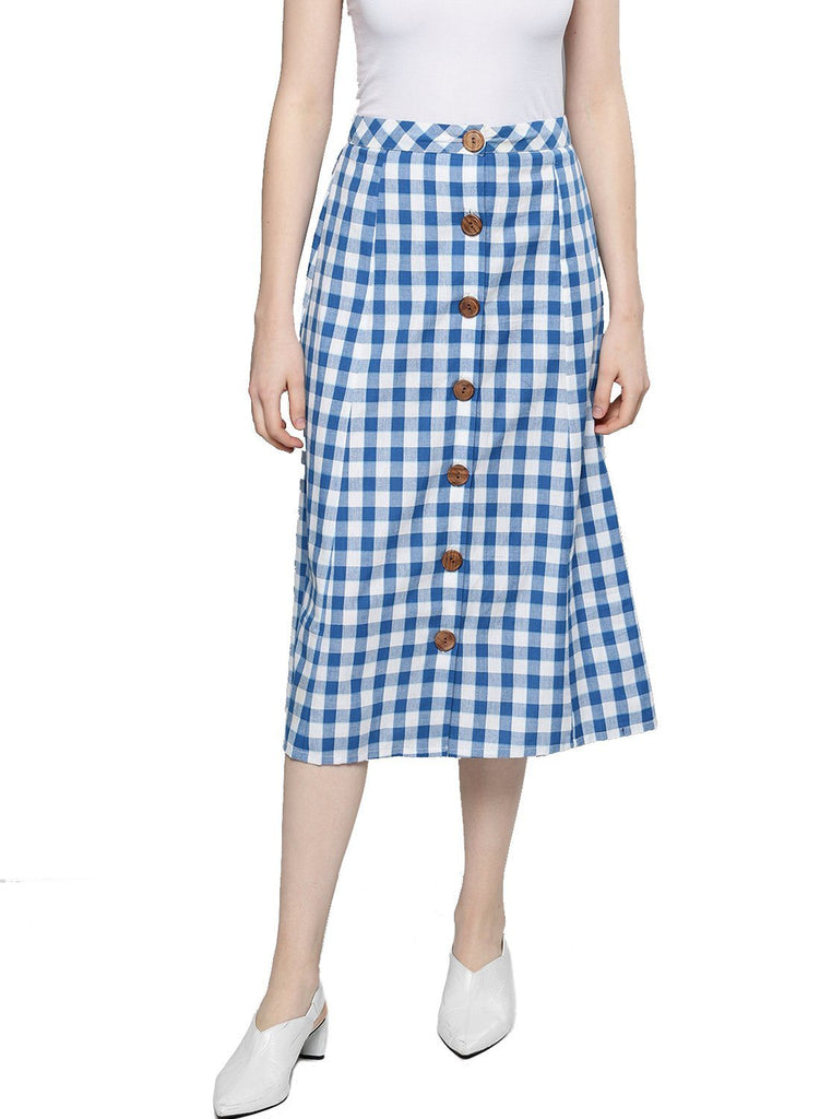Besiva Women's Blue Checkered A- Line Cotton Skirt
