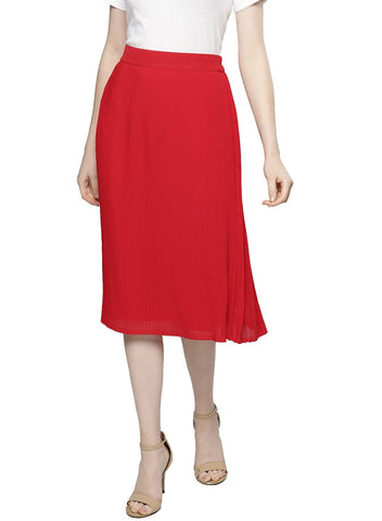 Besiva Women's Red Pleated Skirt