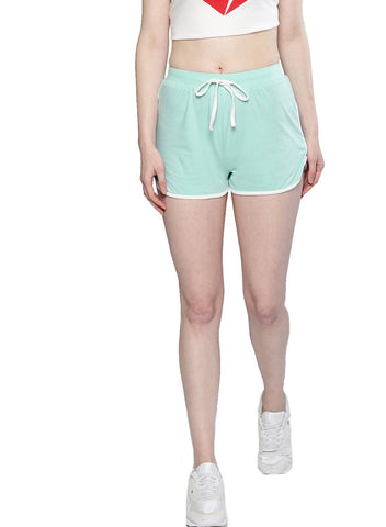 Besiva Women's Green Cotton Shorts
