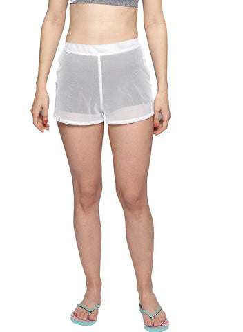 Besiva Women's White Fishnet Beach Shorts
