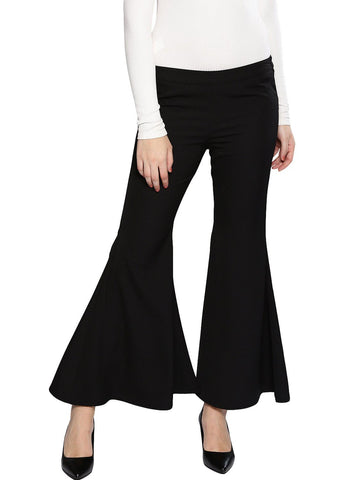 Besiva Women's Black Bell Bottomtrouser