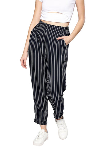 Besiva Women's Blue And White Striped Trouser