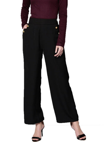 Besiva Women's Black Straight Trouser