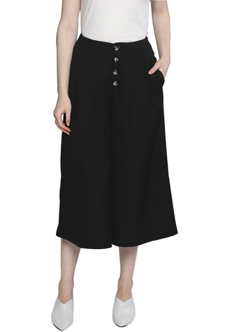 Besiva Women's Black Buttoned Culottes