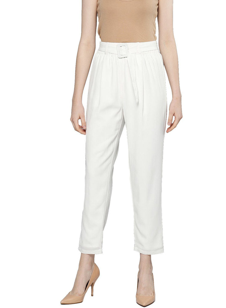 Besiva Women's Off White Belted Trouser