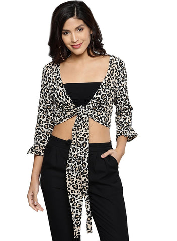 Besiva Women's Leopard Animal Print Three Quarter Sleeve Top