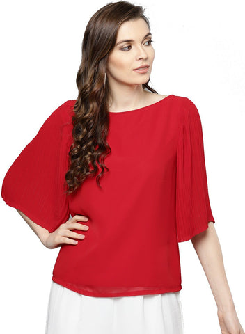 Besiva Women's Red Pleated  Three Quarter Sleeve Top