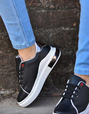 Basic Black Polished Sneakers