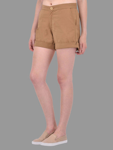 Beige Cotton Twill Shorts