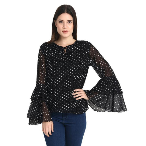 Black With White Dott Bll Sleeves Top