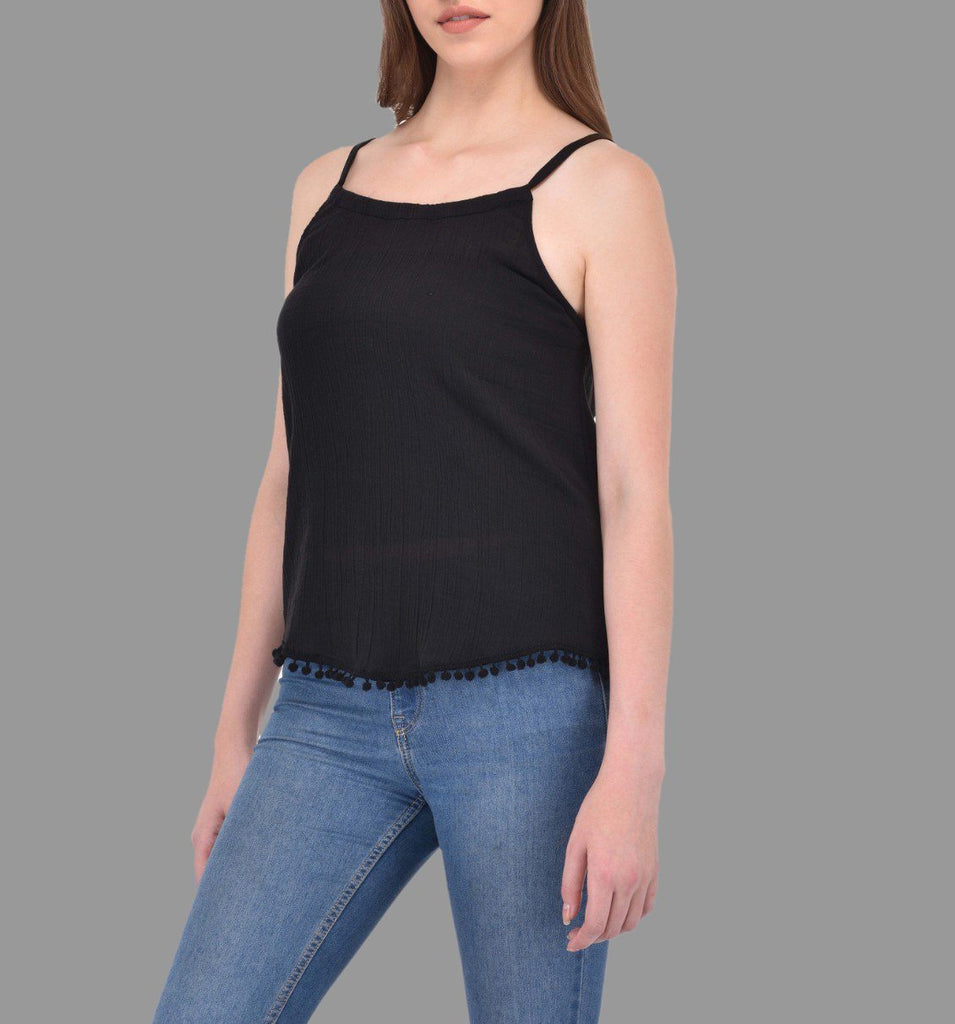 Black Crinkle Viscose Tank Top