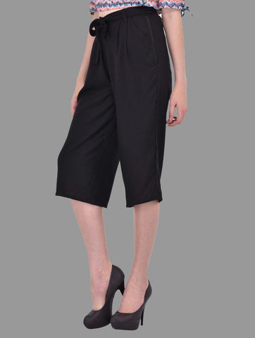 Black Culottes with Tie Belt