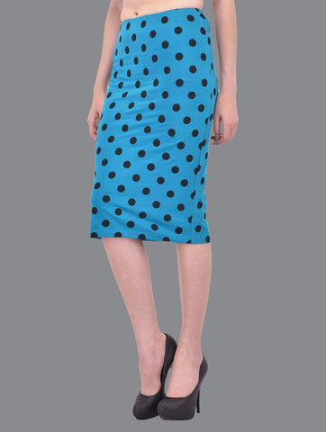 Black Polka Dot Print Turquoise Pencil Skirt