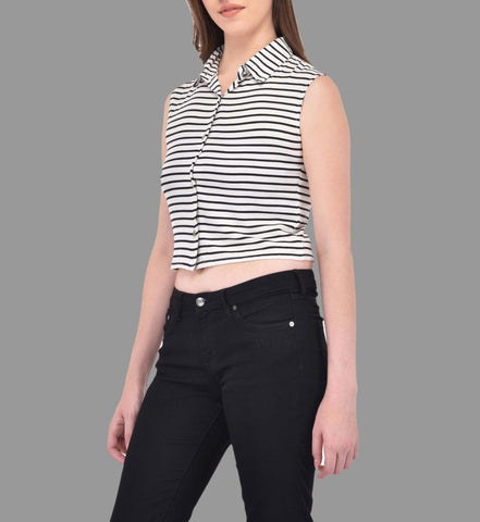 Black Striped Crop Shirt