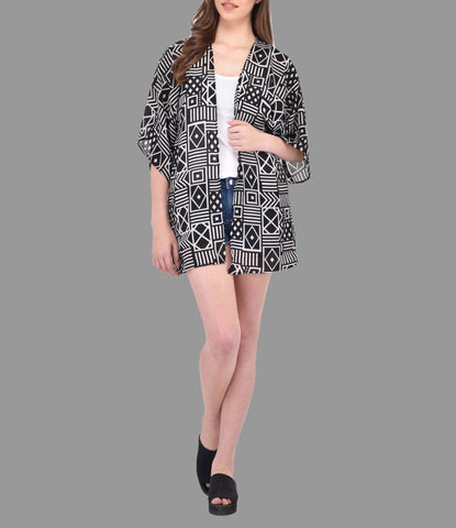 Black and Beige Abstract Print Kimono Shrug