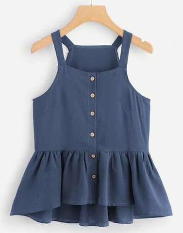 Blazing Blue Peplum Top
