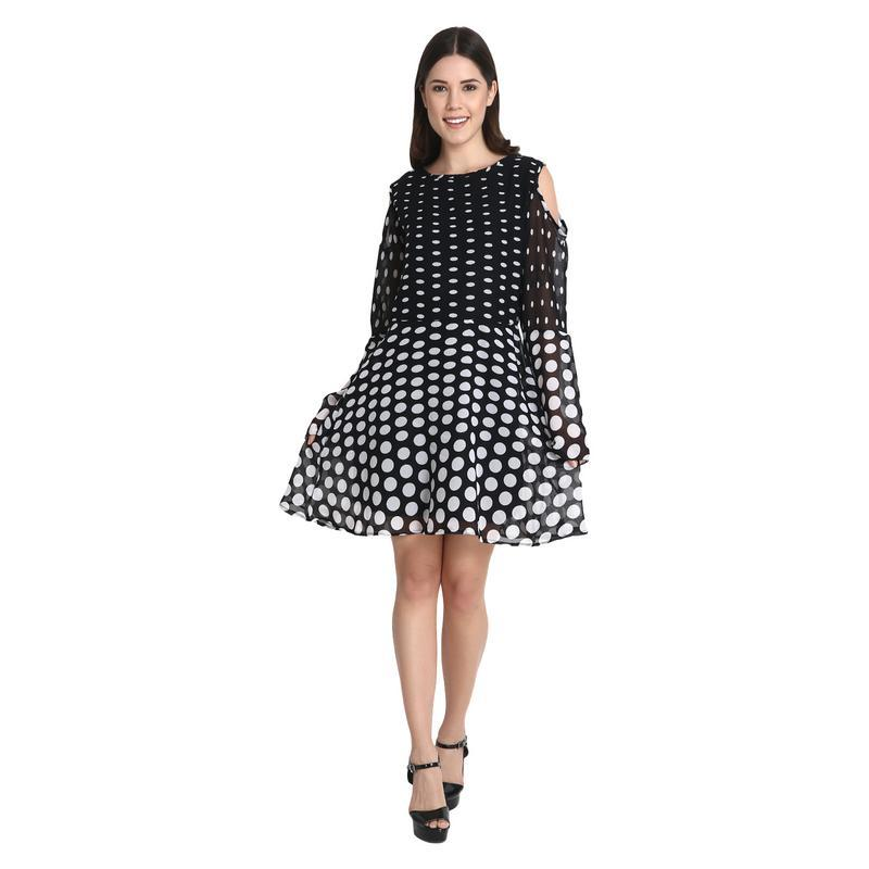 Black With White Dotted Draping Short Dress With Bell Sleeves