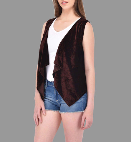Brown Velvet Waterfall Shrug