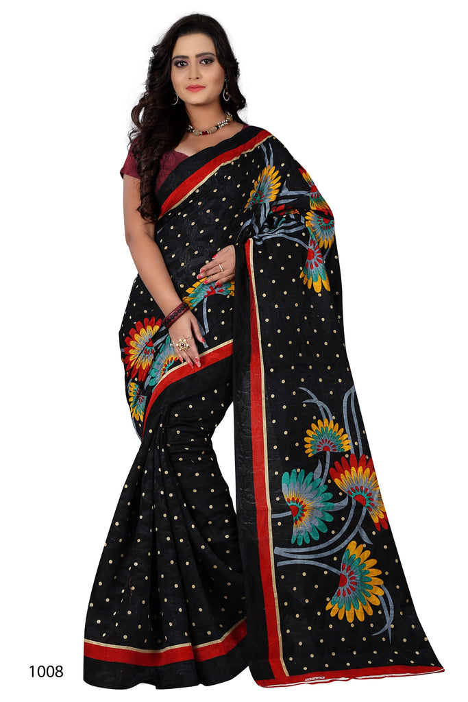 Florence Black Jacquard silk Printed Saree with Blouse(FL-PT-CJ05)