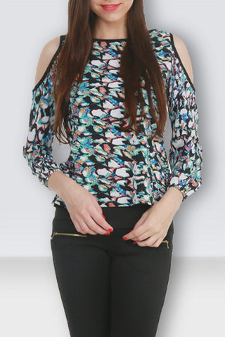 Abstract Multi-Color Print Cold Shoulder Stylish Top