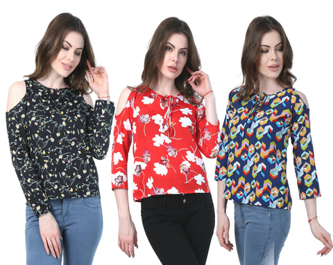 Cold Shoulder  (Pack of 3 Multi Geometric Red & Black Floral Print) Top