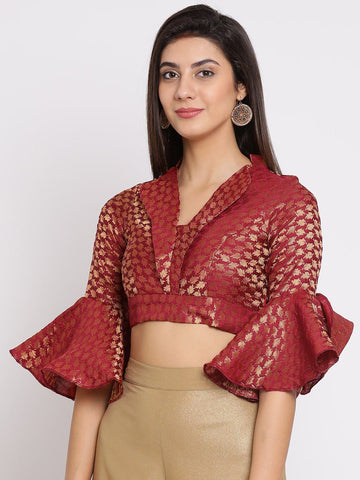 Maroon Posh Crop Top