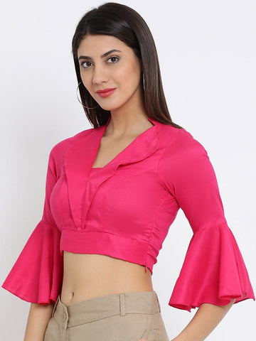 Pink Solid Woven Regular Top