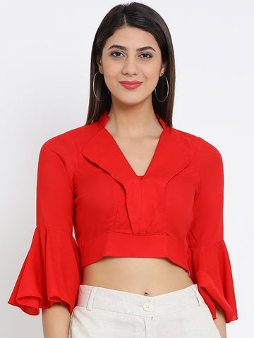 Red Solid Woven Regular Top