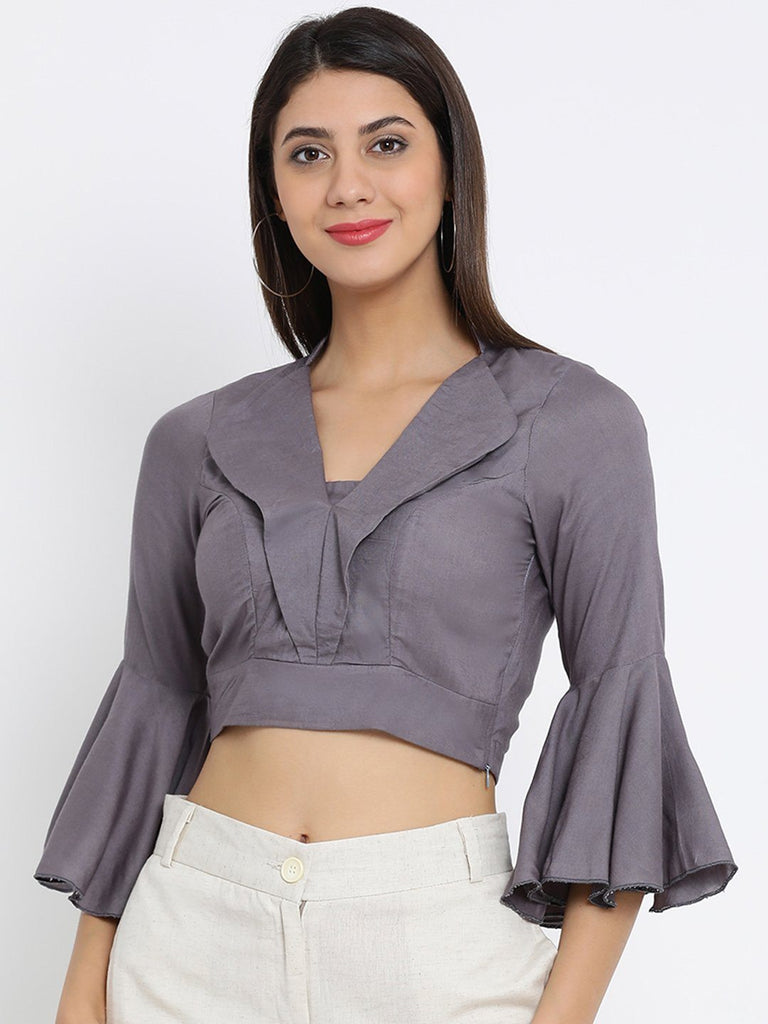 Grey Solid Woven Regular Top