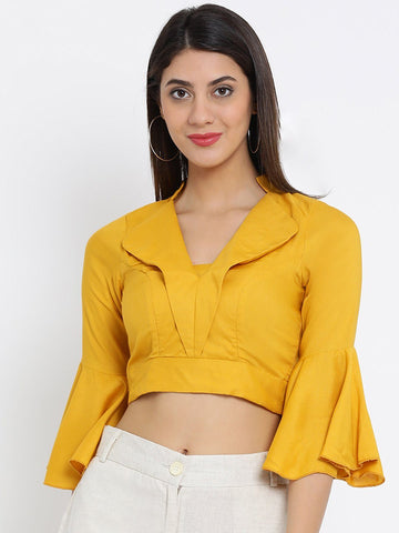 Mustard Solid Woven Regular Top
