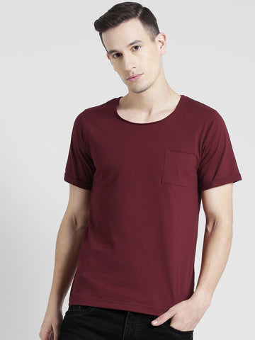 Solid Maroon Round Neck T-Shirt