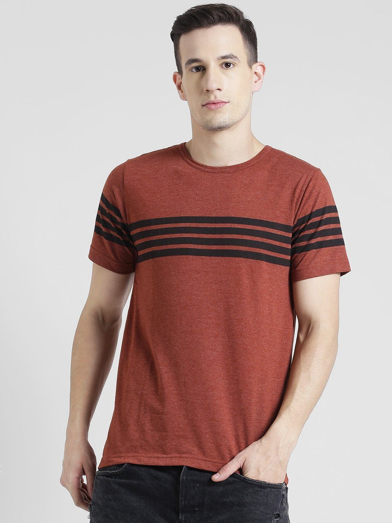 Brown And Black Half Sleeve T-Shirt
