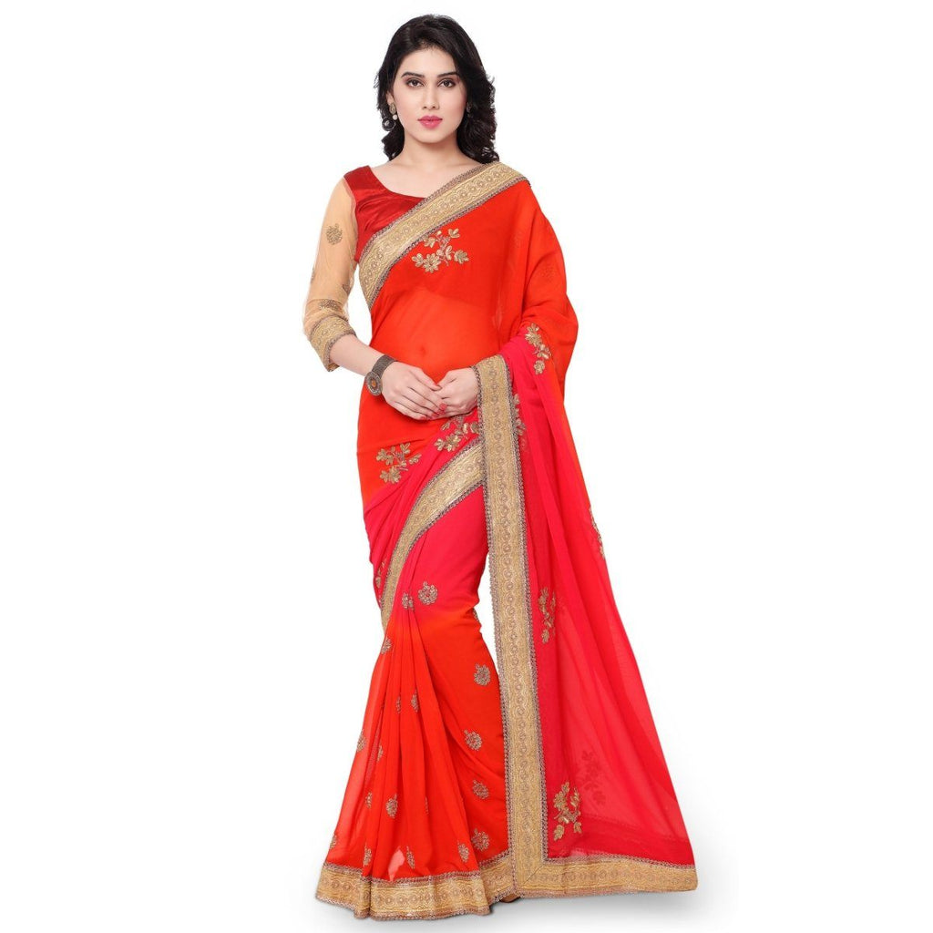 Triveni Faux Georgette Orange Casual wear Embroidered Traditional Sarees