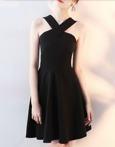 Solid Black Skater Dress