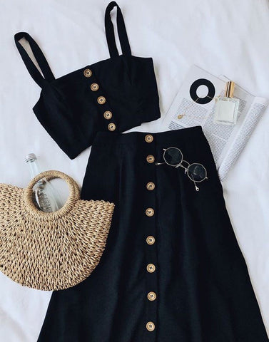 Chic Black Crop Top With Skirt