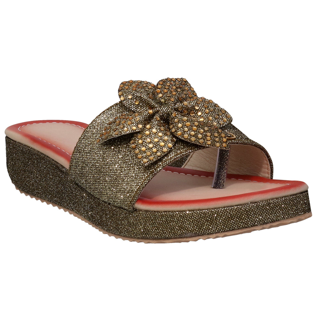 Lency Flower Slip on Sandals Copper