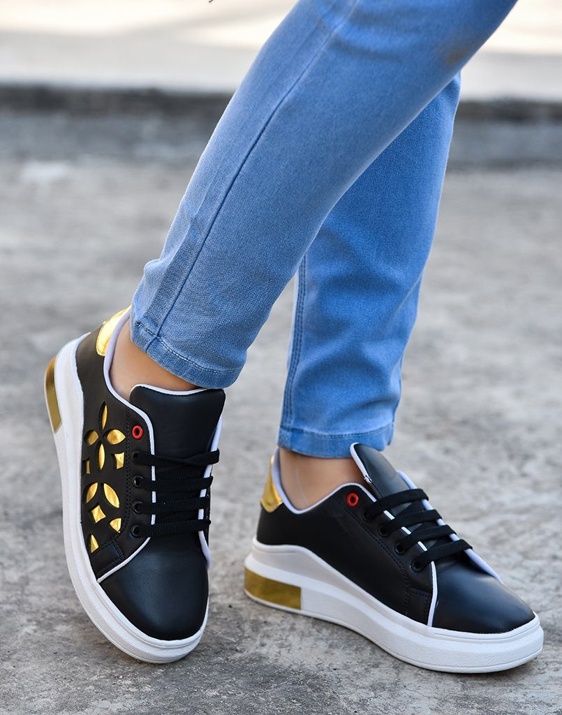 Cut Work Black Gold Sneakers